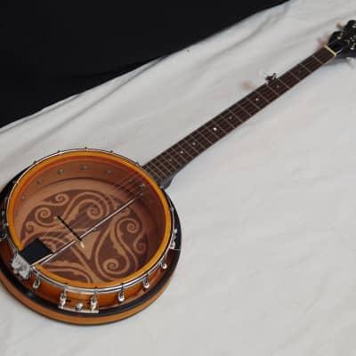 LUNA BGB Celtic 5-string Bluegrass Resonator BANJO - Laser Etched Trinity for sale
