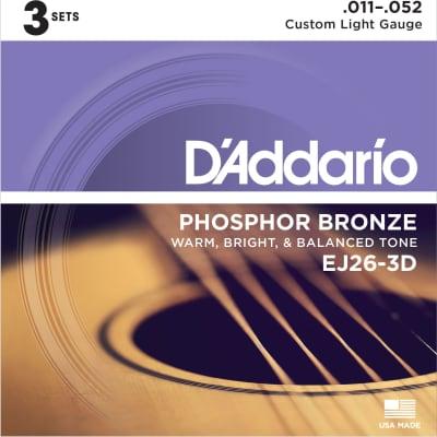 D'Addario EJ26  Phosphor Bronze Acoustic Guitar Strings - Custom Light, 11-52, 3 Pack for sale