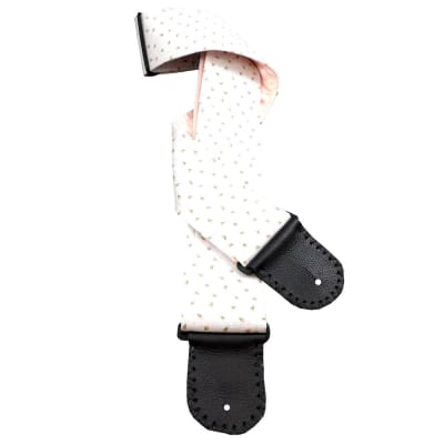Vintage Rosebud Handmade Guitar Strap Embossed White Cotton with Tiny Pink and Green Rosebud Designs