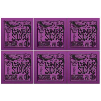 ERNIE BALL Power Slinky Nickel Wound Electric Guitar Strings (2220) - 6 Pack