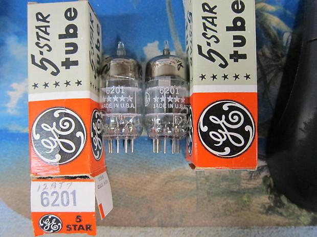 Pr NOS Vintage GE 6201 12AT7 Matched Preamp Driver Tubes 5