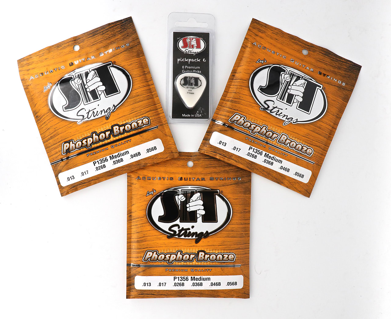 SIT P1356 Medium Phosphor Bronze Acoustic Guitar Strings 3 Pack