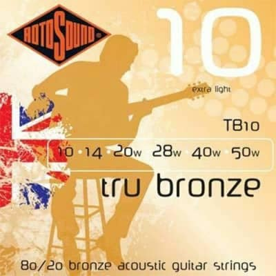Rotosound TB10 Tru Bronze Extra Light 10-50 Acoustic Guitar Strings for sale
