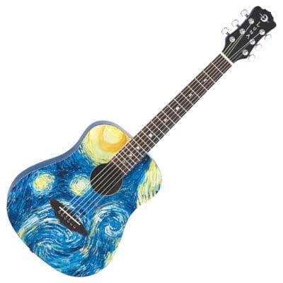 53b0de1ff58 Luna SAF STR Safari Starry Night Travel Guitar w/Bag