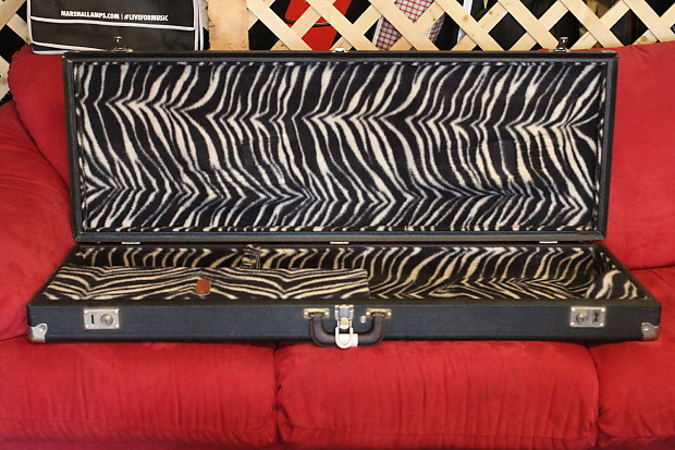 vintage 60 39 s zebra lined hardshell guitar case fits reverb. Black Bedroom Furniture Sets. Home Design Ideas
