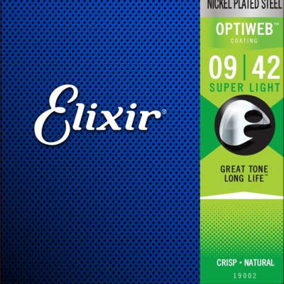 Elixir 19002 Electric Guitar Strings with OPTIWEB Coating, Super Light 9-42