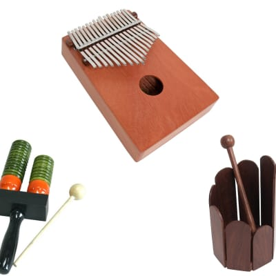 Hand Percussion Package Includes: 17 Key Kalimba Thumb Piano, Red Cedar - Hand Percussion + Double Bell Wooden Agogo w/ Mallet & Stir Drum Hand Percussion