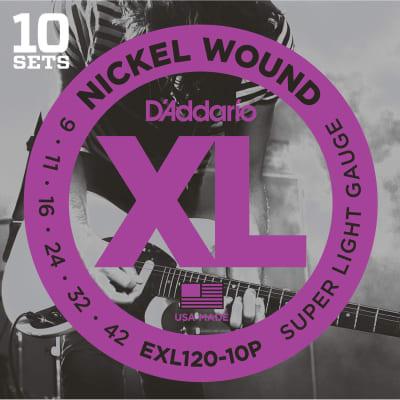 D'Addario EXL120-10P Nickel Wound Electric Guitar Strings, Super Light Gauge 10-Pack