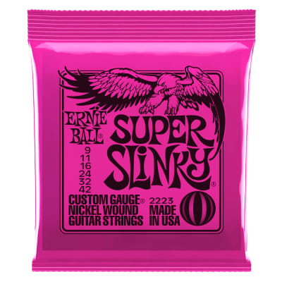 ERNIE BALL Super Slinky 9-42 Nickel Wound Electric Guitar Strings, Light for sale