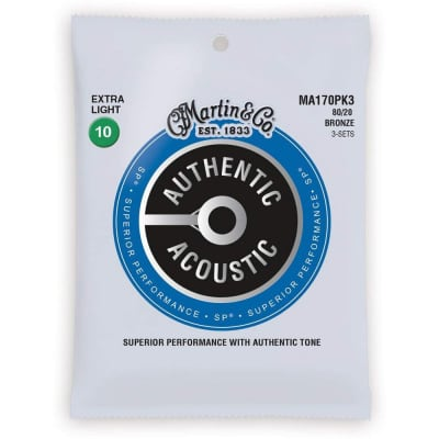 Martin MA170PK3 Authentic Acoustic SP 80/20 Bronze Acoustic Guitar Strings - Extra Light (.10 - .47) 3-Pack