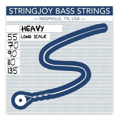 Stringjoy Heavy Gauge (55-135) 5 String Long Scale Nickel Wound Bass Guitar Strings