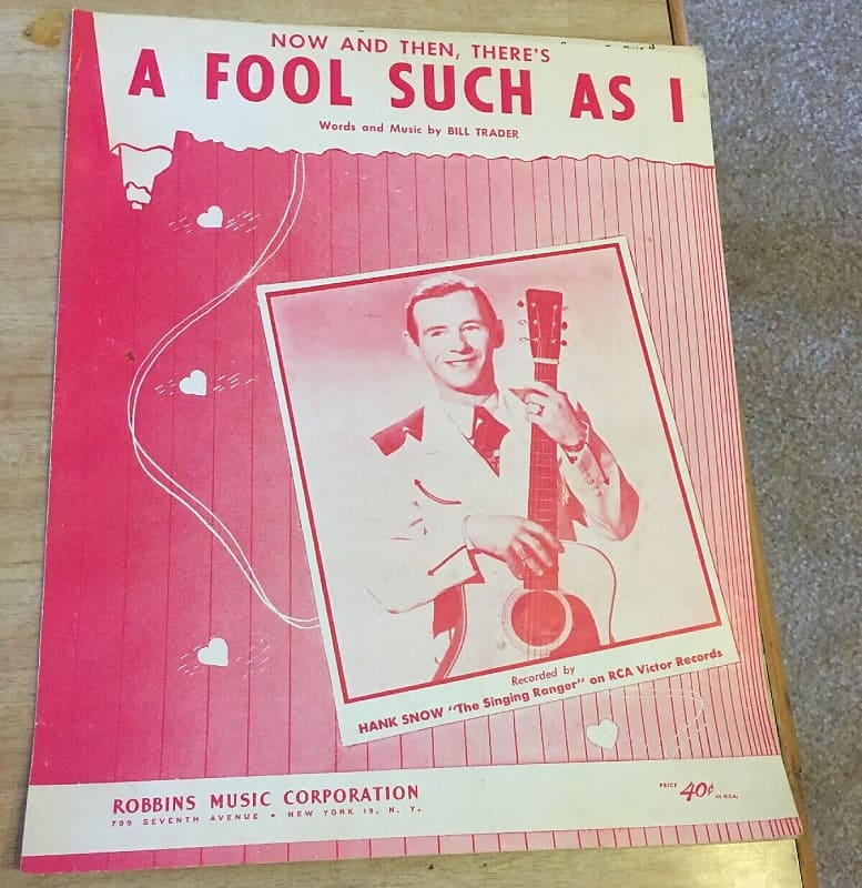 Hank Snow Vintage Sheet Music