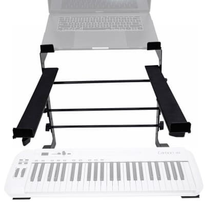Rockville Dual Shelf Laptop+Controller Stand for Samson Carbon 49 Keyboard