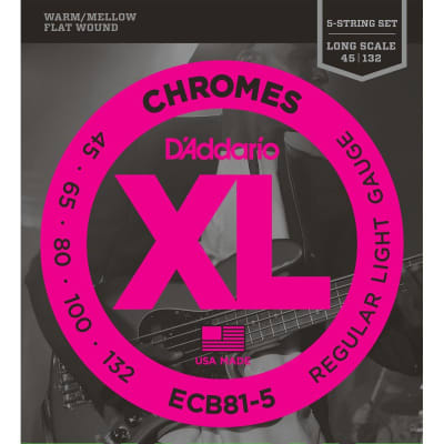 D´Addario Chromes ECB81-5 Flatwound Bass 45-132 5 Strings