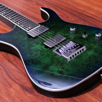 Halo Guitars Merus 6 String Fishman Fluence Modern Humbuckers Evertune Bridge Poplar Burl Luminlay for sale