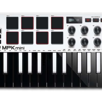 Akai MPK Mini MK3 25-Key MIDI Keyboard Compact Controller MKIII + MPC Beats White