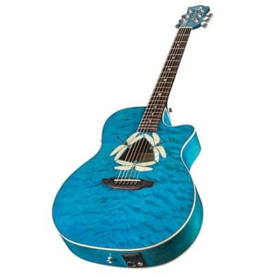 Luna Fauna Dragonfly Quilt Maple Acoustic Electric Transparent Teal Guitar for sale