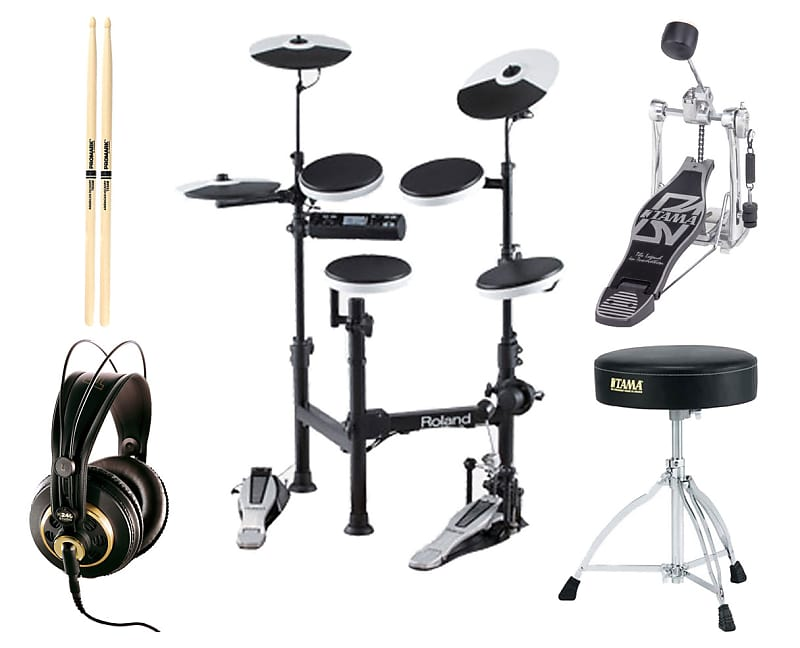 Roland TD-4KP Portable Electronic Drum kit + Kick Pedal + Throne +  Headphones + Sticks