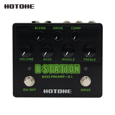 Hotone B Station Bass Preamp and D.I. Wide Tonal Range Guitar Effects Pedal 9V DC Power Adapter Incl