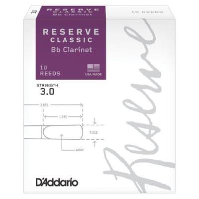 D'Addario Reserve Classic Bb Clarinet Reeds - 3.0