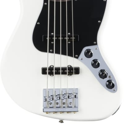 Fender Deluxe Active Jazz Bass V 5 String Electric Bass, Pau Ferro Fingerboard - Olympic White for sale