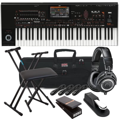 Korg Pa4X-61 61-key Professional Arranger, Keyboard Stand, Bench, Korg EXP2 Pedal, Sustain Pedal, AT ATH-M50X, (4) 1/4 Cables, Gator GKB-61 Bundle