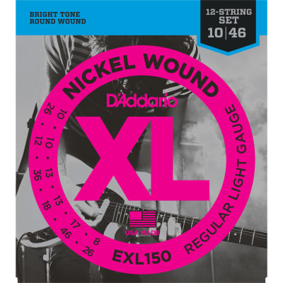 D'Addario #EXL150 - 12 String Set Nickel Wound Regular Light Gauge