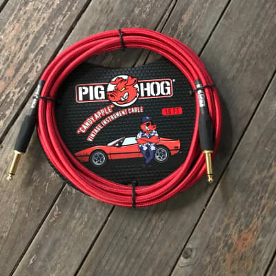 """PIG HOG """"CANDY APPLE RED"""" Instrument Cable 10ft"""