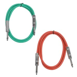 "Seismic Audio SASTSX-2-GREENRED 1/4"" TS Male to 1/4"" TS Male Patch Cables - 2' (2-Pack)"