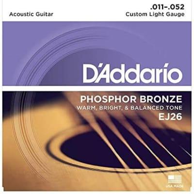 D'Addario EJ26 Phosphor Bronze Acoustic Strings: 11-52 (Custom Light)
