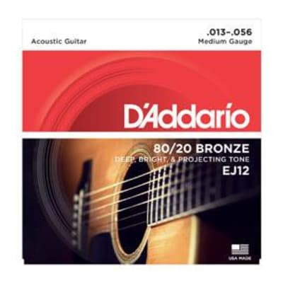 D'Addario EJ12 80/20 Bronze Acoustic Guitar Strings, Medium, 13-56