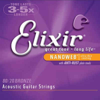 Elixir Acoustic Guitar Strings, 80/20 Bronze, Medium, .013-.056