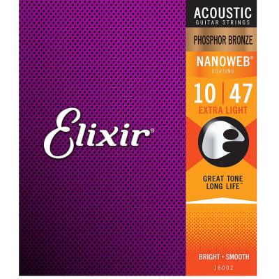 Elixir 16002 Nanoweb Phosphor Bronze Acoustic Guitar Strings - Extra Light (10-47)