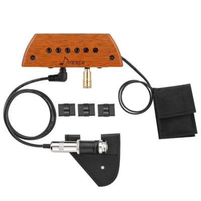 Acoustic Guitar Pickup, Active Mahogany Soundhole Pickup with Mic, Adjustable Heads, Humbucker