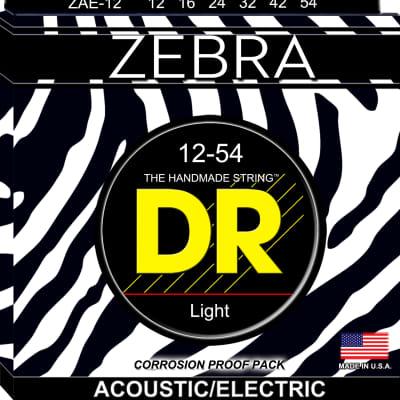 DR Strings ZAE-12 Zebra Acoustic-Electric Strings -  Lite, 12-54 for sale