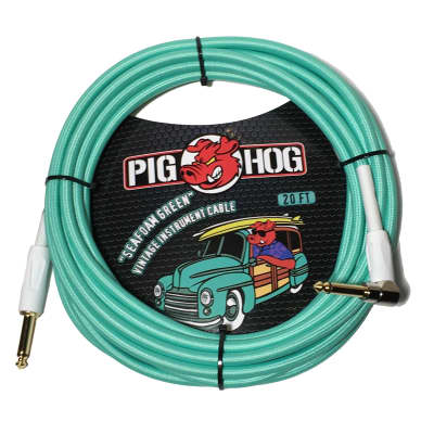"""Pig Hog 20-Foot """"Seafoam Green"""" Vintage Instrument Cable - Right Angle (PCH20SGR)"""