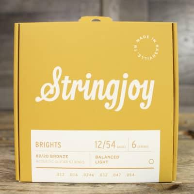 Stringjoy Brights   Light Gauge (12-54) 80/20 Bronze Acoustic Guitar Strings