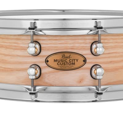 Pearl Music City Custom 14x5 Ash Solid Shell Snare Hand Rubbed Nashville Natural Finish, No Inlay