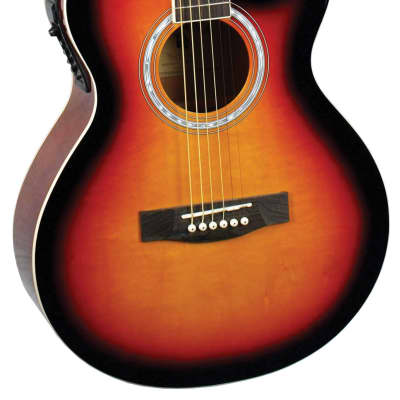 Indiana MAD-VB Madison Concert Cutaway 6-String Acoustic-Electric Guitar - Vintage Burst for sale