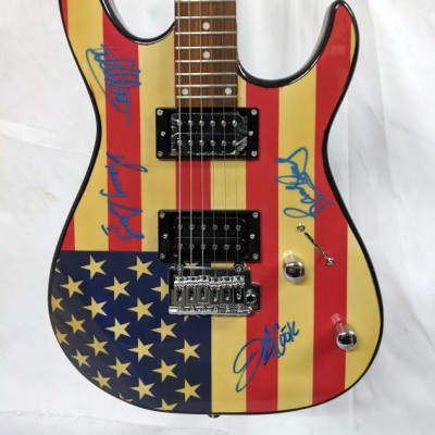 Autographed Galveston Stratocaster US Flag Design - Signed by Alabama (All 4 Band Members) for sale