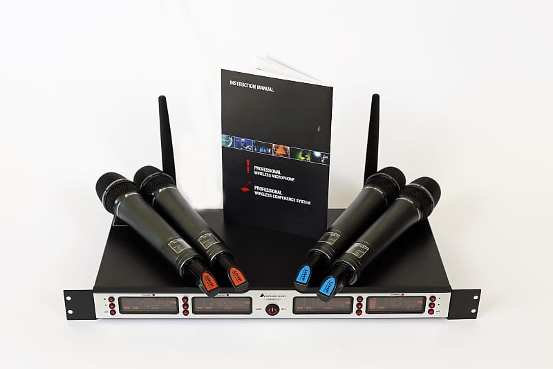 4 wireless microphone outland audio pro system skm4000 reverb. Black Bedroom Furniture Sets. Home Design Ideas
