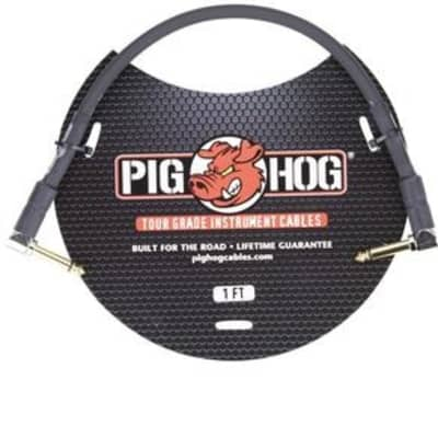 "Pig Hog PH1RR Black on Black 1ft Patch Cable with 1/4"" Right Angle Plugs"