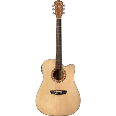 Washburn Harvest Series D7SCE Dreadnought Acoustic-Electric Guitar, Natural