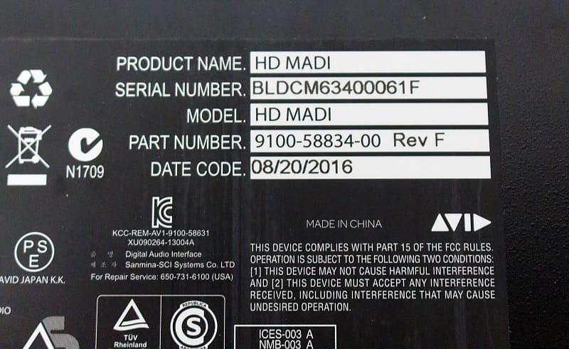 Avid HD MADI 64-channel MADI Pro Tools | HD Interface w/ Sample Rate  Conversion