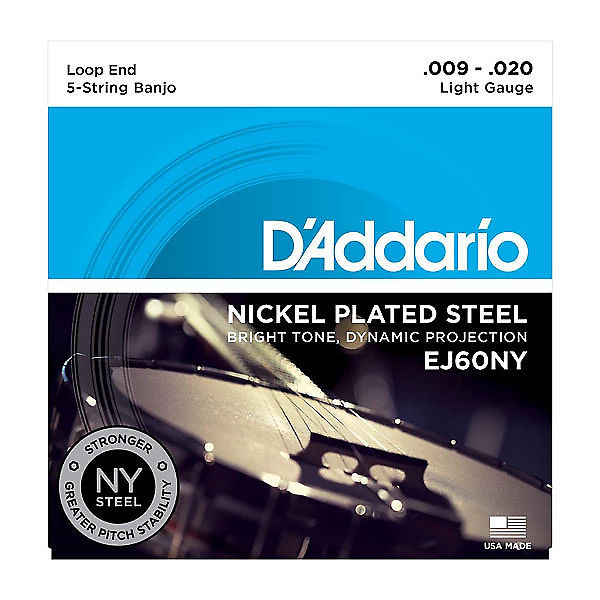 5 Pack DAddario EJ60NY NY Plus 60 Nickel Plated Steel Light Banjo
