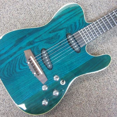 Optek Smartlight FG300B Electric Guitar with Piezo Trans Blue for sale