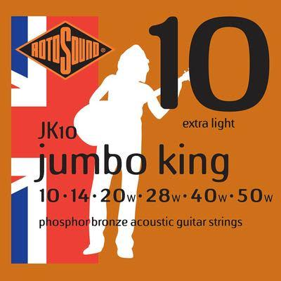 Rotosound JK10 Phosphor Bronze Extra Light 10 Gauge Acoustic Guitar Strings for sale