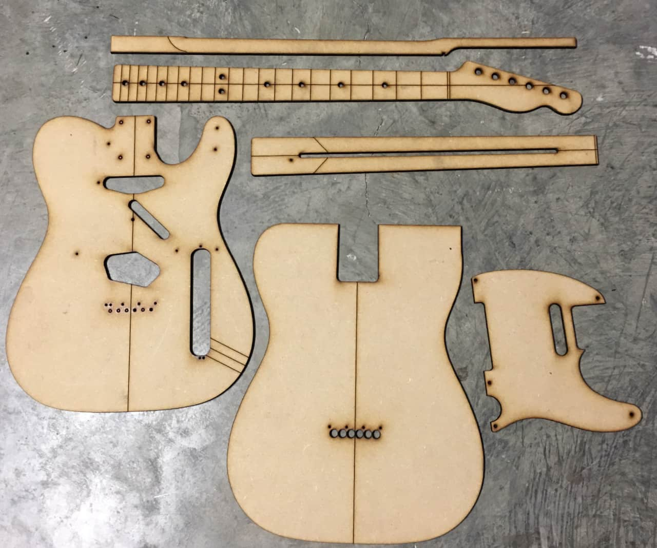 Guitar building templates telecaster template with extras for Guitar f hole template