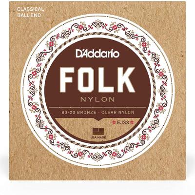 D'Addario EJ33 Ball End Nylon Folk Guitar Strings, Normal Tension Clear 80-20 Bronze