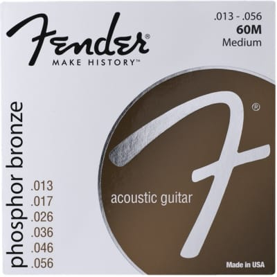 Fender® Phosphor Bronze Acoustic Guitar Strings, Ball End, 60M .013-.056 Gauges, (6) - Default title